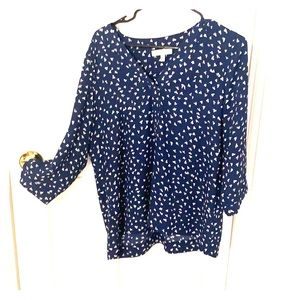 Chai's Navy Blouse V Neck